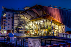 Harbour Lights Cinema, Ocean Village - HDR (P Sterling Images) Tags: ocean cinema architecture marina boats lights long exposure village harbour sony 4 sigma hampshire southampton tone hdr slt mapped lightroom a35 18200mm photomatix