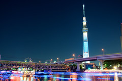 Happy Birthday Tokyo Sky Tree!! (littleflag106) Tags: blue sunset urban building tower broadcast japan skyline architecture night radio river japanese tv asia illumination structure toyko beacon sumida transmission observationtower communicationtower broadcasttower skytree tokyoskytree mygearandme mygearandmepremium mygearandmebronze mygearandmesilver mygearandmegold gettyimagesjapan12q2 kinshisho