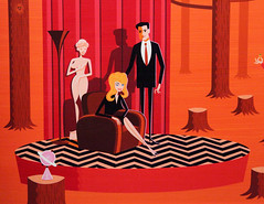 In the Red Room (Sam Howzit) Tags: california santamonica exhibit exhibition twinpeaks firewalkwithme shag redroom zigzag laurapalmer davidlynch blacklodge groupart 20thanniversary dalecooper littlemanfromanotherplace coprogallery fwwm20 oldwomanandhergrandson saturnlamp