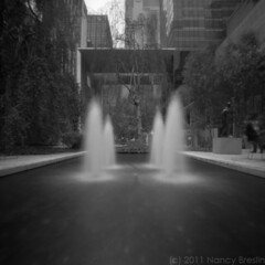 Pool, MoMA, 2011 (pinhole photography) (squaremeals) Tags: nyc blackandwhite sculpture newyork film fountain pool manhattan pinhole museumofmodernart zeroimage