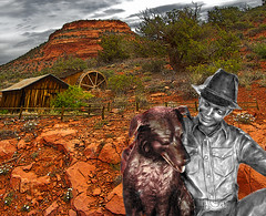 Tin Man and his Dog (Rusty Russ) Tags: red arizona dog man mill photoshop tin yahoo google rocks flickr image oz photographers sedona can oil getty bing direct facebook stumbleupon daum ishkolorkraft