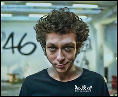 VALENTINO ROSSI (The PIX-JOCKEY (visual fantasist)) Tags: portrait art photoshop crazy joke humour vip photomontage chop caricature valentino valentinorossi fotomontaggi motomondiale robertorizzato pixjockey