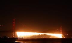 GGB 75th Anniversary Fireworks (zoxcleb) Tags: longexposure red orange night canon fireworks goldengatebridge 75 xsi crissyfield ggb ggb75
