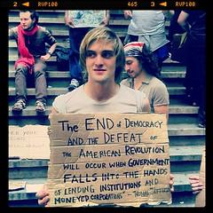 Instagram Shankbone 12 (david_shankbone) Tags: guy sign quote steps cardboard revolution blonde thomasjefferson federalhall ows occupywallstreet