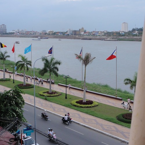 View of the riverside park and the Mekong river
