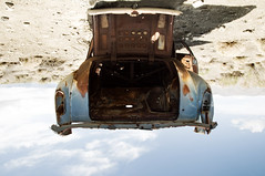 Low Orbit (Curtis Gregory Perry) Tags: auto old blue lake abandoned car rust automobile paint desert pyramid saratoga nevada rear rusty mobil down faded trunk motor chrysler forsaken upside 1952 automvil xe automobil     samochd  kotse  otomobil   hi   bifrei  automobili   gluaisten