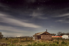 Farmhouse in the moonlight (Explored 31 May 2012) (Indigo Skies Photography) Tags: light sky moon colour clouds farmhouse rural fence stars photography flickr cattle farm country australia victoria moonlight colourful dairy nikond90 dairyshed raychristy
