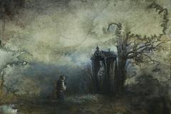 Prayer (Yaroslav Gerzhedovich) Tags: mist tree fog painting paper sketch acrylic gloomy prayer drybrush