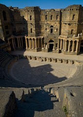 Roman Amphitheatre, Bosra, Syria. (Eric Lafforgue) Tags: color colour tourism archaeology vertical stone architecture outdoors photography ancient day theatre roman amphitheatre middleeast nopeople unesco syria amphitheater majestic idyllic unescoworldheritage trajan 018 siria traditionalculture levant syrien syrie bosra sirja traveldestinations suriye   syri nationallandmark oldruin ancientcivilisation daraa artscultureandentertainment  elevatedview bostra bozra bozrah sria szria builtstructure  busrana westernasia    suriah sirija  cp  sora circa2ndcentury
