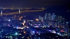 (marcus_the_1) Tags: china longexposure bridge light reflection night hongkong cityscape shenzhen shekou