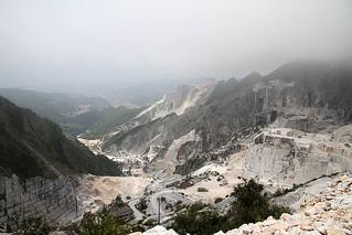 Panorama on Carrara quarries