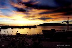 Sunset at Kota Kinabalu (Sound of Colours) Tags: sunset sea beautiful clouds ship crane malaysia sabah kota kinabalu