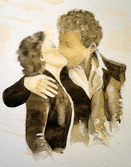 The kiss, relecture of Robert Doisneau, by Fernanda P. (Dona Mincia) Tags: art love watercolor painting paper amor beijo pair lovers study tribute homage casal remake namorados thekiss homenagem manandwoman releitura aquarela robertdoisneau degrad degrad tonsurton rereading homememulher relecture