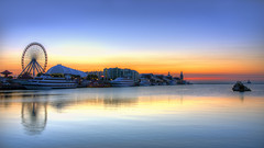 Navy Pier Sunrise (Brian Koprowski) Tags: park city morning cruise lake chicago tourism architecture sunrise boats illinois am downtown pentax lakemichigan lakeshoredrive shore photowalk ferriswheel navypier odyssey hdr lakefront cruises pentaxk5 briankoprowski bkoprowski