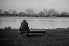 Lonely man on a bench (fandango.noir) Tags: lake bench alone loneliness seat think thoughts