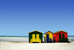 Beach Huts (Ed Telling Photography) Tags: africa wood trip travel blue red sea summer vacation sky sunlight mountain green tourism beach water beauty yellow clouds landscape southafrica outdoors sand day driving break african painted multicoloured nobody capetown huts coastal coastline idyllic atlanticocean tranquil scenics westerncape mountainrange tranquilscene 4star traveldestinations colorimage westerncapeprovince southafricanrepublic