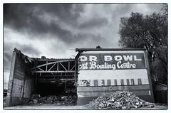 The End of an Era ~ O'Connor Bowl Demolition (Sally E J Hunter) Tags: toronto ontario sign vintage typography blackwhite construction alley bowl demolition bowling bowlingalley oconnor eastyork oconnoravenue