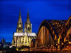 klner.dom (grizzleur) Tags: bridge blue sky color night cathedral dom cologne kln hour klner