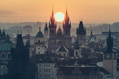 Catch the sun (One_Penny) Tags: city morning travel light sky urban sun sunlight church colors skyline architecture sunrise buildings photography dawn town cityscape view prague towers prag praha tschechien spire czechrepublic tones catchthesun týnchurch churchofourladybeforetýn canon6d