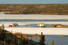 houseboaters need nerve to commute (useless no more) Tags: canada ice houseboat nwt arctic northern iceflow yellowknife subarctic yellowknifebay canadasnorth scottlough