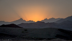 Good Night, Oman! (Peraion) Tags: sunset mountains asia perspective middleeast rays oman rugged hajarmountains arabianpeninsula