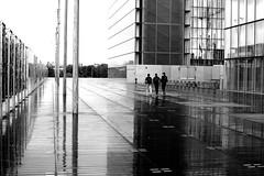 On the way back at the high school (pascalcolin1) Tags: reflection rain noiretblanc pluie bnf reflets streetview paris13 photoderue blackandwithe urbanarte photopascalcolin