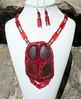 Alberta Australia (floyfreestyle) Tags: red necklace handmade australia alberta earrings beadembroidery ammolite koroitopals