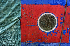 Porthole. (Bolin27) Tags: uk blue red england abstract texture circle boat canal cabin rope porthole round weathered scratched scratch barge narrowboat tarpaulin patina canalboat windo