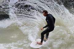 Munich - Eisbachwelle (cnmark) Tags: sport germany munich mnchen deutschland action surfing surfen eisbach allrightsreserved eisbachwelle