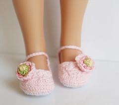 Pink Ranunculus (Maria Kopotowska) Tags: pink flower green shoes doll hand handmade crochet ranunculus made slippers littledarling effner