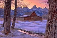 Teton Barn (mojo2u) Tags: winter sunset snow barn wyoming tetons jacksonhole grandtetonnationalpark mormonrow mormonbarn nikond700 nikon2830mm