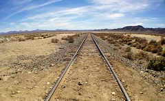 Endless (spieri_sf) Tags: california railroad desert horizon tracks mojave iphone wideanglelens trona iphoneography olloclip