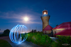 Barrenjoey Lighthouse (Bruce_Hood) Tags: ocean sky 6 moon lighthouse lightpainting night garden stars path barrenjoey lightbubble