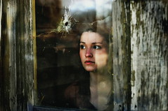 (emmakatka) Tags: portrait house abandoned broken window glass girl alone hole 14 northdakota bullet mm 50 derelict abandonment