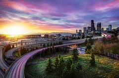 Dynamic Seattle Light (Surrealize) Tags: seattle city light sunset urban skyline skyscraper buildings flow nikon downtown glow traffic freeway interstate rizal hdr d700 surrealize