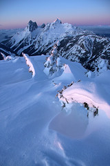 Lone Goat Sunrise (justb) Tags: park pink justin trees winter sunset red orange brown mountain snow mountains castle beautiful forest sunrise canon landscape hope colorful bc snowy north goat cascades lone range picket manning ridges provincial hozomeen hozameen justb 40d