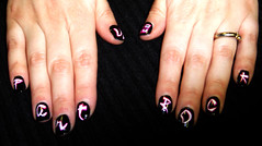 Party Rock Nail Art (borispumps) Tags: pink music white black art shiny neon purple song album nail polish freehand nailpolish lmfao nailart nailvarnish partyrock varnish freehandnailart buzz2012032