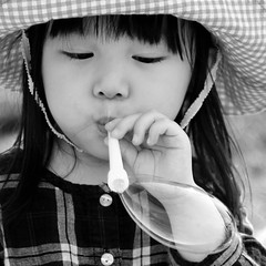 Bubbles (H-Huynh) Tags: street party blackandwhite bw girl hat japan canon river square photography tokyo concentration child riverside candid bubbles bbq 7d lightroom tamagawa futakotamagawa goldenweek canon1755mm