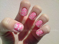 Nail Art - Be mine (DboraWernke) Tags: love heart beijo rosa nailpolish smack tutorial nailart unha bemine beijinho fofurice