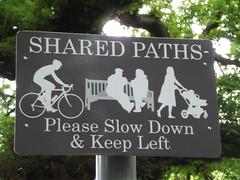 Selly Oak Park - sign - Shared paths - Please Slow Down & Keep Left (ell brown) Tags: greatbritain england sign birmingham unitedkingdom westmidlands birminghamuk sellyoak sellyoakpark sharedpaths friendsofsellyoakpark pleaseslowdownkeepleft