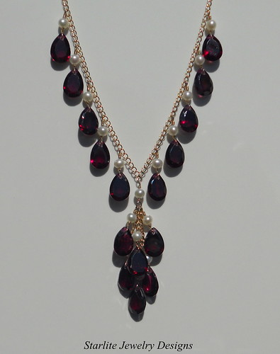 Garnet Necklace ~ Accented with White Freshwater Pearls ~ Fine Fashion Jewelry Designs