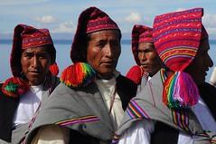 The men of Lake Titikaka (beyondhue) Tags: travel mountain lake man men history peru titicaca water hat america island colorful south celebration textile tribe titikaka taquile 2012 pompom status beyondhue