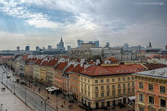 Warsaw skyline (Mike G. K.) Tags: new old sky sun skyline architecture clouds cityscape view poland warsaw rays oldtown hdr staremiasto photomatix 3exp