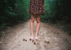 forest (.nevara) Tags: trees portrait woman brown green film girl pine analog forest dark foot is dress natural cone good ghost grain skirt sidewalk fairy 400 barefoot faceless zenit knees paradies