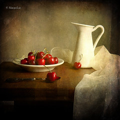 Still Life & Cherries (MargoLuc) Tags: red stilllife white texture silver cherries plate spoon jug platinumheartaward cherriesseason absoluterouge