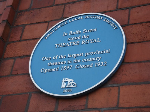 Smethwick Rolfe Street Station - blue plaque - Theatre Royal