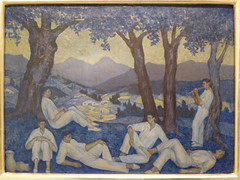 danseurs basques au coucher de soleil (canecrabe) Tags: pays basque malaga coucherdesoleil dantzari valentindezubiaurre museocarmenthyssen