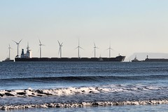 Bulk Mexico entering Teesmouth (martin97uk) Tags: uk england port river mexico durham wind gare south yorkshire north windmills seal sands tugs carrier seaton carew turbines tees bulk redcar steelworks snooks teesmouth