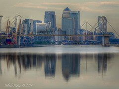 London City (Belinda Fewings (3 million views. Thank You)) Tags: street city bridge signs colour building london wet water beautiful beauty thames architecture reflections out outside outdoors reflecting seaside still arty artistic bokeh creative best depthoffield cranes financialdistrict colourful lovely distance citibank hsbc londoncity barclays eastend citi royalvictoriadocks beautify panasoniclumixdmc pbwa creativeartphotograhy belindafewings