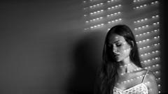 139/366: through the blinds (Andrea  Alonso) Tags: light shadow portrait bw selfportrait blancoynegro luz cortina me blind retrato profile sombra persiana 365 autorretrato 366